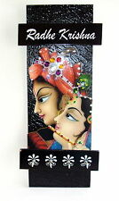 Decorative Handcrafted Wall Mounted Key Holder with God Photo- Radhe Krishna 219
