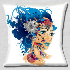 "NEW KITSCH RETRO SURREAL WOMAN CLOSEUP WHITE TURQUOISE 16"" Pillow Cushion Cover"