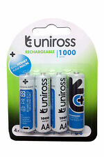 Uniross AA 1000 mAh Rechargeable Ni-MH Batteries x 4 pcs+Warranty 4*R6