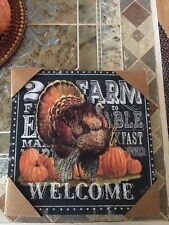 Thanksgiving Welcome Sign Farm to Table Pumpkin Breakfast Dinner Canvas Art NIP