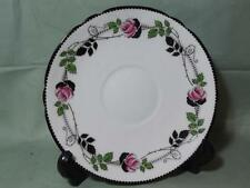 One Shelley Tea Saucer Only  Pattern No.11190  Pink Roses, Black Leaves and Rim