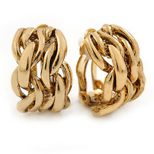 C-Shape Plaited Clip-on Earrings In Gold Tone - 20mm L