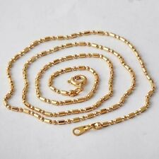 Womens Yellow Gold Filled 1mm Ball Bead Necklace Dog Tag  Chain 20 inch