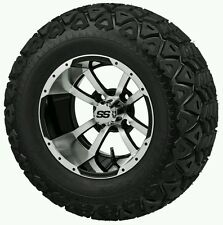 "GOLF CART 12"" MACHINE/BLACK STORM TROOPER WHEELS WITH 23x10.5-12  TIRE"