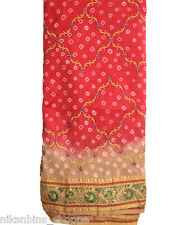 COTTON SILK PINK AND CREAM BIEGE GADHWAL WORK BANDHANI SAREE