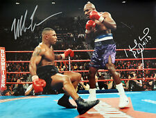 Mike Tyson And Evander Holyfield Duel Signed 12x16 Boxing Photograph : B
