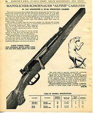 1965 Print Ad of Mannlicher-Schoenauer Alpine Carbine Model .243 & 30/06