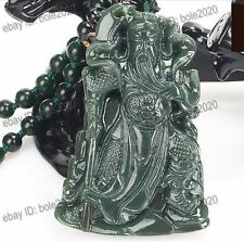 Natural Green Jade Real HeTian Jade Carved Guangong Amulet Pendant free Necklace