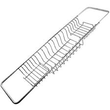 Classic Chrome Finish Extendable Non Slip Grip Over The Bath Wire Rack - 79cm