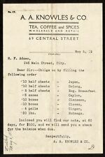 1919 Bill Head, Invoice from A.A. Knowles Tea, Coffee and Spices, $500.00 worth