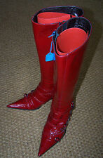 Red boots Patent Leather Italian boots Sexy High Heel calf/knee Length Boots