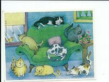 1994  Hallmark Cards Stickers Sheet Cats on Couch Scene CUTE