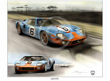 FORD GT40 GULF RACING LE MANS JACKY ICKX 1969 NEW PAINTING PRINT CHRIS DUGAN A++