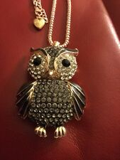 Colossal Betsey Johnson Owl Pendant-Black/Grey