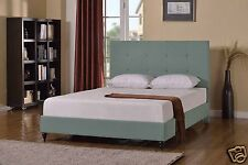 GREEN Upholstered QUEEN Size Platform Bed Frame & Slats Modern Home Bedroom NEW