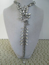 NWT Auth Betsey Johnson Something New Floral Rhinestone Chain Statement Necklace