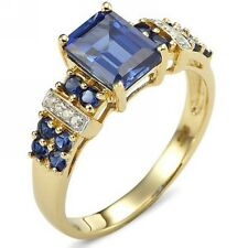 Jewelry Women Bridal Emerald Cut Blue Sapphire 18K Gold Filled AAA Rings Size10
