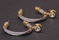 SILVER CABLE/GOLD DIAMANTE ENCRUSTED HOOP EARRINGS UNIQUE STATEMENT(ZX12)