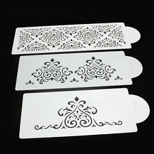 3Pcs Plastic Damask Lace Flower Stencil Mould for Wedding Party Cake Decorating