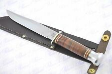 """Genuine Authentic Round Tang Leather 5"""" Bowie Knife Sheffield England"""