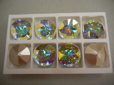 2 swarovski round brooch stones,27mm crystal AB/foiled #1201