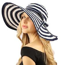 "50+ UPF Beach Summer Stripe Shapeable Wire Wide 5"" Brim Floppy Sun Hat Cap Navy"