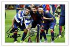 LUIS SUAREZ NEYMAR JR & LIONEL MESSI FC BARCELONA SIGNED PHOTO PRINT 2014/15