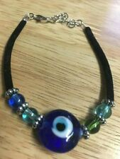 MURANO GLASS AND BEAD BRACELET BLACK VELVET BAND FITS 7 TO 8 INCH