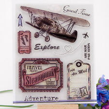 Transparent Vintage Aircraft Clear Rubber Stamp Cling Scrapbooking Seal DIY