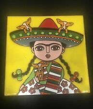 "Mexican tile 6"" Day of the Dead/ Frida Kahlo/ Chihuahua/Talavera Rare Design"