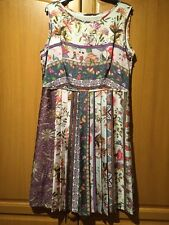 New M&S Vintage look multi coloured antique floral print pleated tea dress UK 16