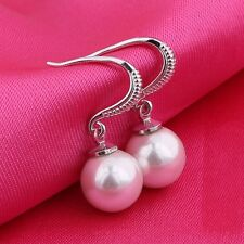 18k white gold filled Simulated Diamond hook pearl dangling wedding earring!