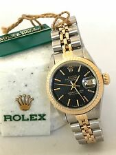 Ladies Rolex DateJust 69173 Tapestry Black Dial 18k Yellow Gold Box & Paper 26mm