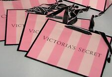 New Unused Lot 4 Victoria's Secret Pink & Black Stripe Paper Medium Gift Bags