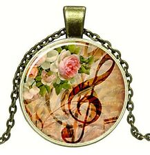 Médaillon vintage + Chaine collier bronze/Medallion +Chain necklace/ Music,retro