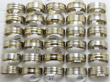 50pcs Men's Gold 8mm Stainless Steel Band Rings Wholesale Fashion Jewelry Lots