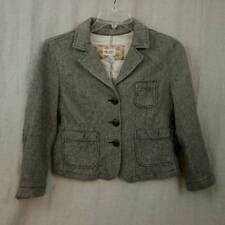 Abercrombie Jacket Brown Herringbone Wool Blend Elbow Patches Womens Large