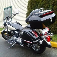 Black Motorcycle Trunk Tail Box Luggage Touring Pack Universal w/ Tail Light DMY