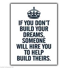 """PLACCA di Metallo Segno Muro KEEP CALM """"se non si costruiscono i tuoi sogni"""" POSTER stampati"""