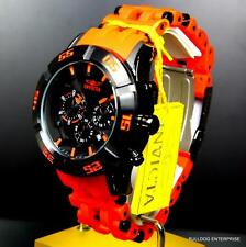 Mens Invicta Sea Spider 50mm Chronograph Black Orange Rubber Watch New
