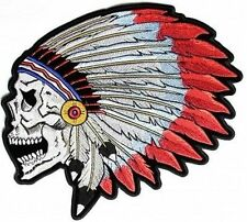 SCREAMING SKULL Indian Headress MC Embroidered Biker BACK Vest Patch LRG-0616