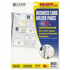 Business Card Binder 3 Ring Holds 200 Cards 10 Pages Book Universal Holder Clear