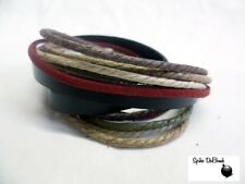 PUNK/ SURFER RED, BROWN, ARMY GREEN & GREY ROPES ON BLACK LEATHER CUFF BRACELET