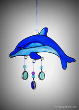 Dolphin suncatcher garden mobile, window bathroom ocean ornament FREE SHIPP
