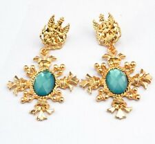 BEAUTIFUL ANTHROPOLOGIE BAROQUE STYLE GOLD LIGHT BLUE CROSS DROP DANGLE EARRINGS