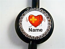 ID STETHOSCOPE NAME TAG BLING ALL HEART NURSE,RN,MEDICAL,ER,CT,MA,VET TECH