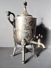 1860s GOTHIC Antique Silverplate Samovar URN POT w/ BURNER TEA Coffee Hot Water