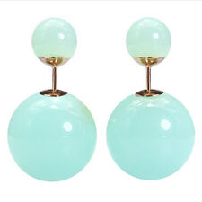 Clear Green Turquise Double Sided Faux Pearl MISE en Tribal Front Back Earrings