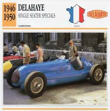 1946-1950 DELAHAYE Single Seater Special Racing Classic Car Photo/Info Maxi Card