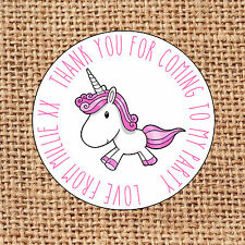 Unicorn Party bag stickers 24 thank you sweet cone labels first birthday party